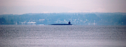 Sub lurking through Puget Sound