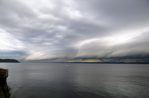 Storm approaching sail boat